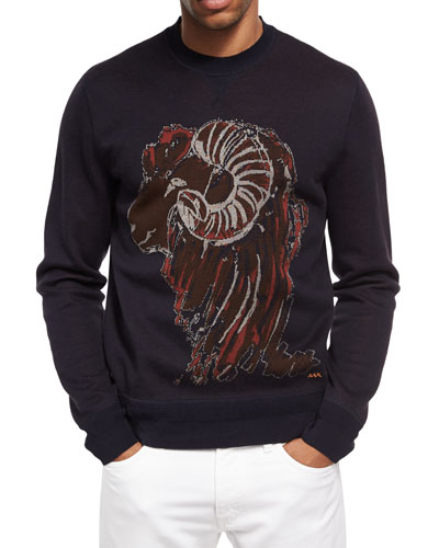 Ram's Head Crewneck Sweater