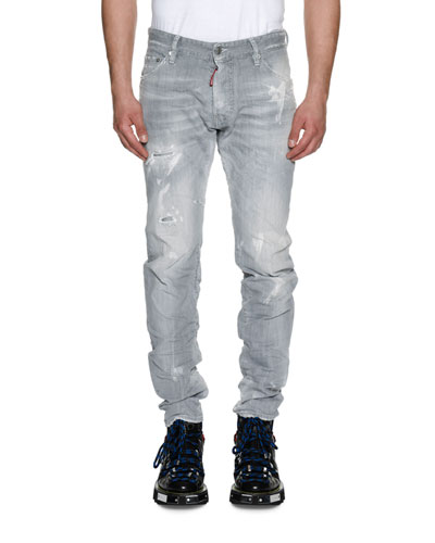 Cool Guy Distressed Straight-Leg Jeans