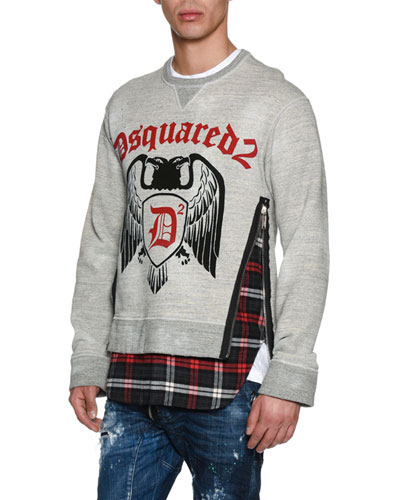 Crest Sweatshirt with Flannel Hem
