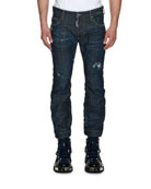Biker Ski Distressed Straight-Leg Jeans