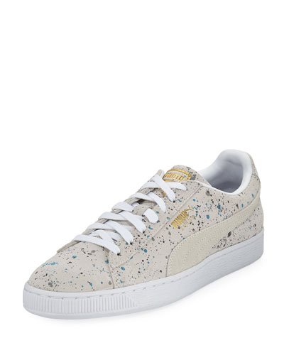 Men's Classic Paint-Splatter Suede Low-Top Sneaker