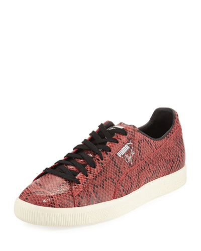 Men's Clyde Snakeskin-Embossed Leather Low-Top Sneaker, Red