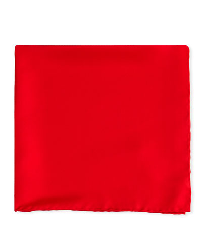 Solid Silk Pocket Square, Red
