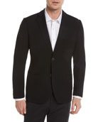 Waffle-Knit Wool-Blend Two-Button Blazer