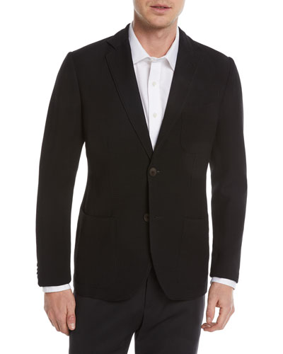 Waffle-Knit Wool-Blend Two-Button Blazer