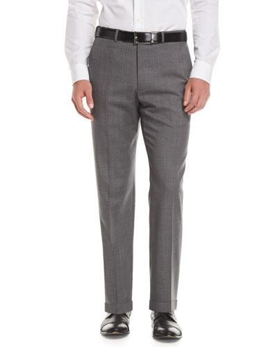 Melange Wool Dress Pants, Gray