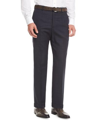 Melange Wool Dress Pants, Navy
