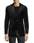 Notched-Lapel Velvet Dinner Jacket