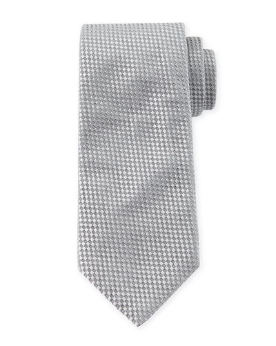 Checked Silk Tie, Gray