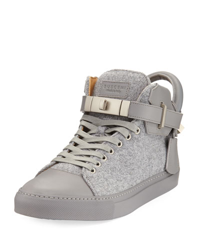 100mm Wool Mid-Top Sneaker, Medium Gray