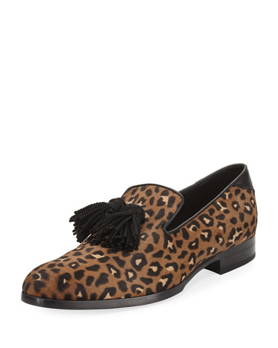 Foxley Leopard-Print Calf Hair Tassel Loafer