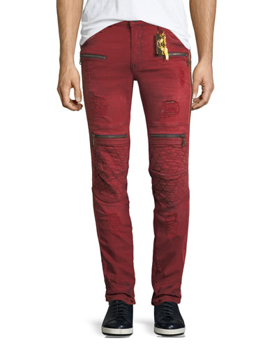 Distressed Zip-Trimmed Moto Jeans