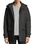 Wool Flap-Pocket Coat w/ Removable Hood