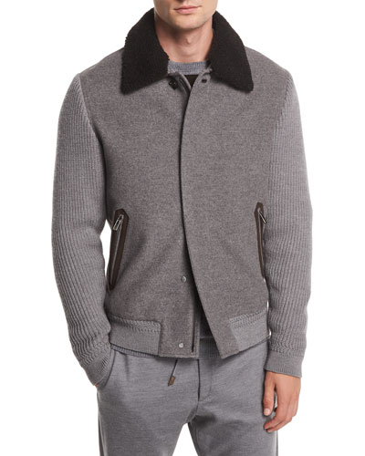 Zip-Front Cashmere/Wool Bomber Jacket w/ Shearling Collar