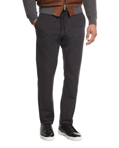 Drawstring Jogger Pants, Dark Charcoal Gray