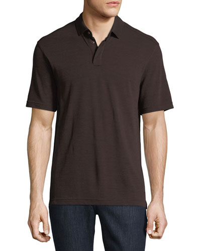 Techmerino Wool Polo Shirt, Dark Red