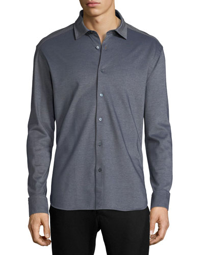 Pique Knit Button-Front Shirt