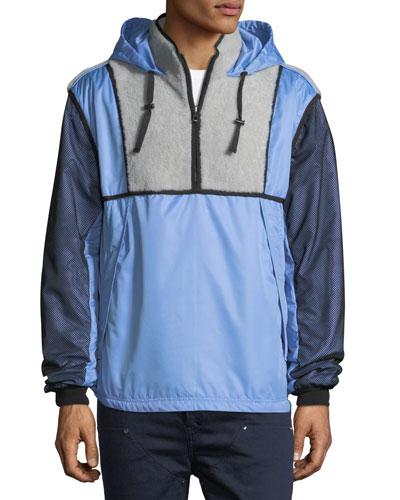 Shearling-Trim Hooded Wind-Resistant Jacket