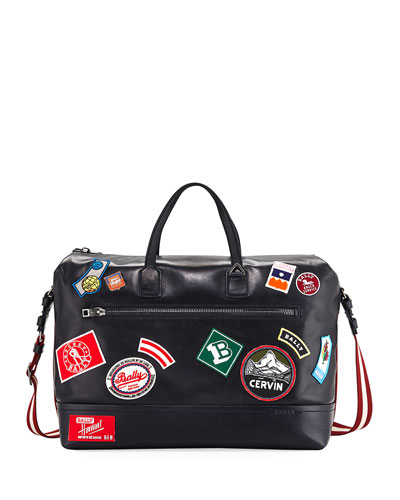 Tammi Leather Weekender Bag with Patches