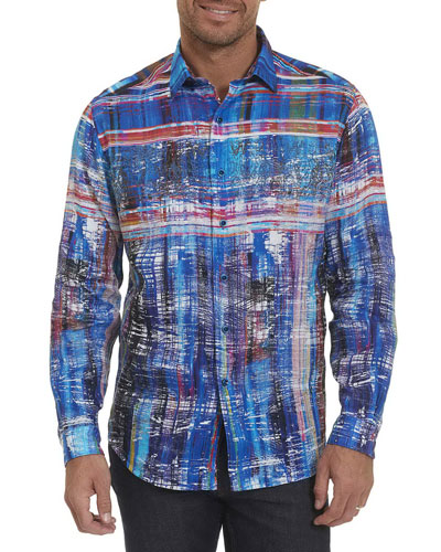 Calabasas Abstract-Striped Linen Sport Shirt