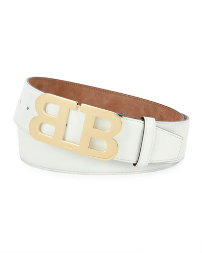 Mirror B Patent Leather Belt, White