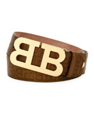 Mirror B Stamped Leather Belt, Brown