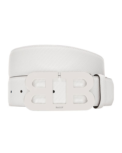 Mirror B Carbon Leather Belt with Silver Buckle