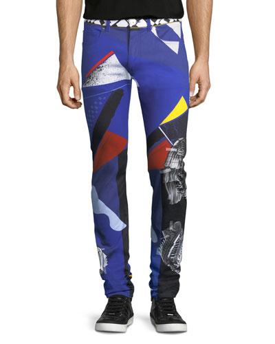 Collage-Print Five-Pocket Jeans