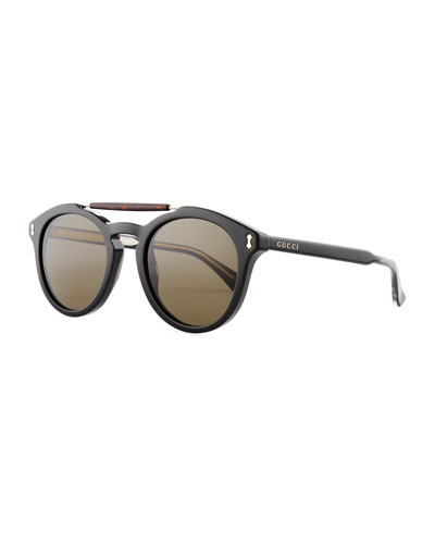 Vintage Round Acetate Sunglasses, Black