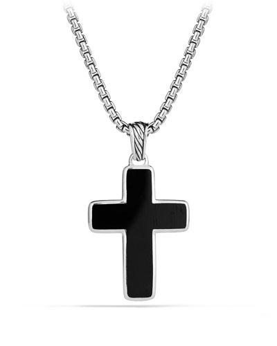 Men's Sterling Silver & Onyx Cross Pendant