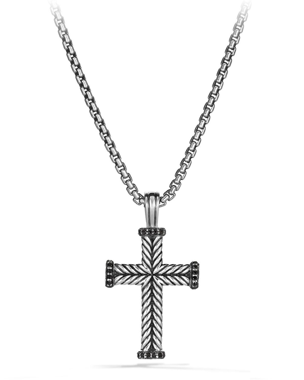 Men's Chevron Cross Pendant with Black Diamonds