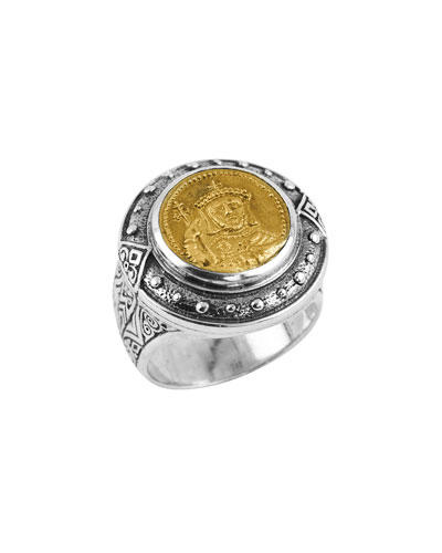 Men's Byzantium Sterling Silver & Bronze Coin Ring, Size 10