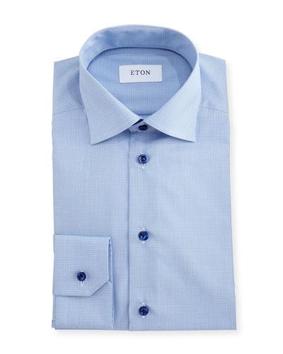 Slim-Fit Grid-Check Dress Shirt
