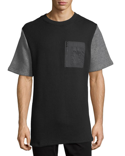 Mixed-Media Quilted-Back T-Shirt