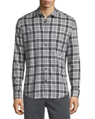 Herringbone Plaid Point-Collar Cotton Shirt