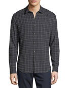 Ombre Plaid Point-Collar Cotton Shirt
