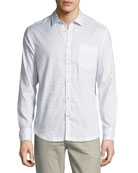 Geo-Block Point-Collar Cotton Shirt