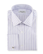 Ground-Stripe French-Cuff Dress Shirt