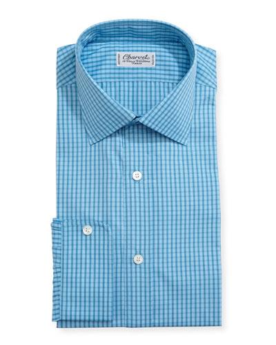 Mini-Check Cotton Dress Shirt