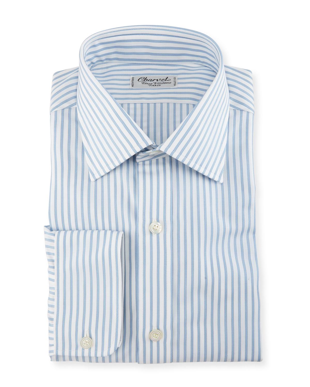 Texture-Striped Dress Shirt