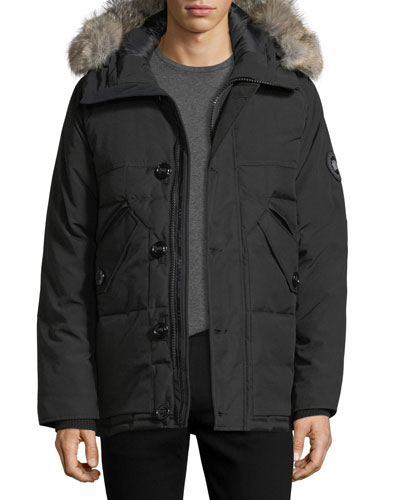 Travers Herringbone Down Jacket with Fur Trim