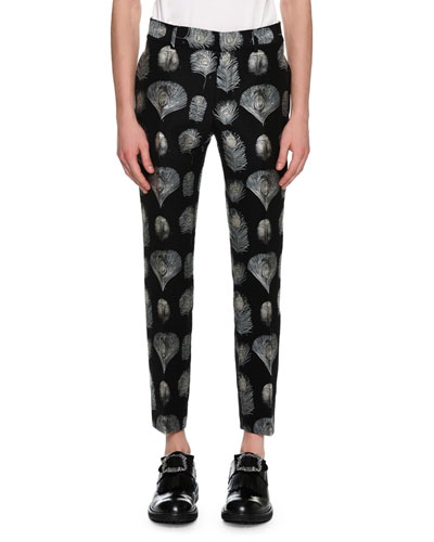 Feather Jacquard Slim Pants