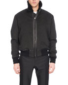 Felt Bomber Jacket with Shearling & Alligator Trim