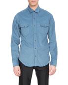 Corduroy Western Shirt, Sky