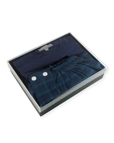 Neiman Marcus Two-Piece Plaid Pajama Gift Set