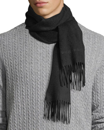 Men's Solid Logo Embroidery Cashmere Scarf