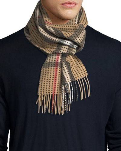 Men's Cashmere Check Scarf, Camel