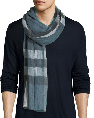 Men's Giant Exploded Check Linen Scarf