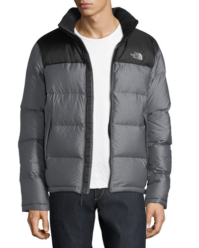 Nupste Quilted Down Jacket, Gray Heather/Black