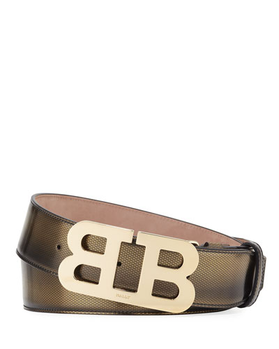 Mirror B Embossed Belt, Gold